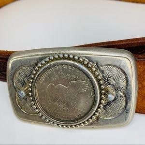 Vintage leather USA eagle tooled belt -coin buckle